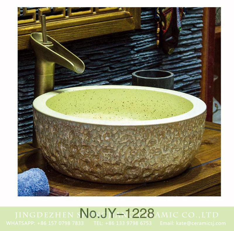 SJJY-1228-30仿古腰鼓盆_05 European style art ceramic cream white color with black dots inner wall sanitary ware    SJJY-1228-30 - shengjiang  ceramic  factory   porcelain art hand basin wash sink