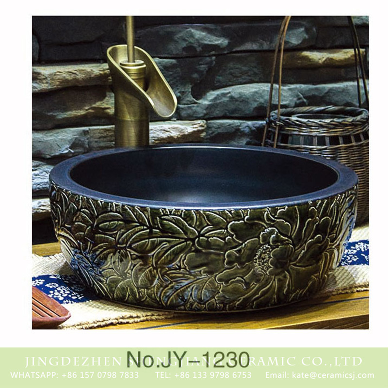 SJJY-1230-30仿古腰鼓盆_08 Asia style high quality porcelain black color with hand craft flowers pattern surface wash sink    SJJY-1230-30 - shengjiang  ceramic  factory   porcelain art hand basin wash sink
