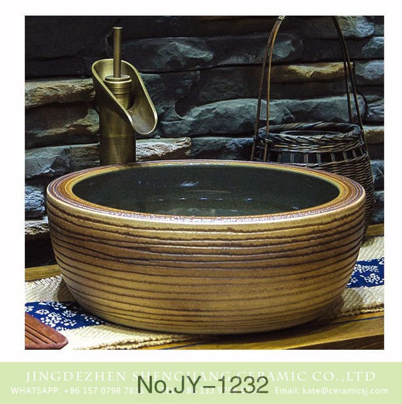 SJJY-1232-30仿古腰鼓盆_10 Shengjiang factory retro series smooth inner wall and hand carved stripes surface vanity basin    SJJY-1232-30 - shengjiang  ceramic  factory   porcelain art hand basin wash sink
