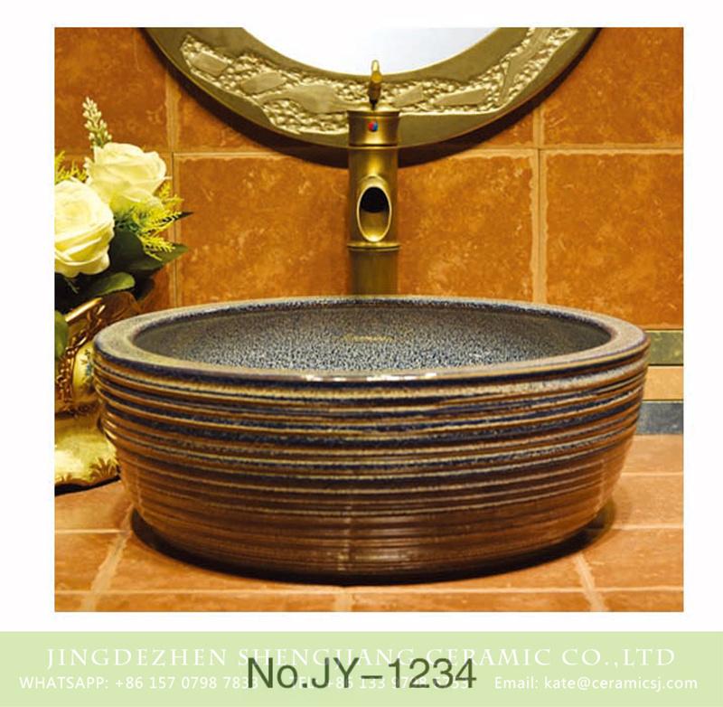 SJJY-1234-30仿古腰鼓盆_12 Jingdezhen wholesale marble inner wall and hand carved stripes surface vanity basin    SJJY-1234-30 - shengjiang  ceramic  factory   porcelain art hand basin wash sink