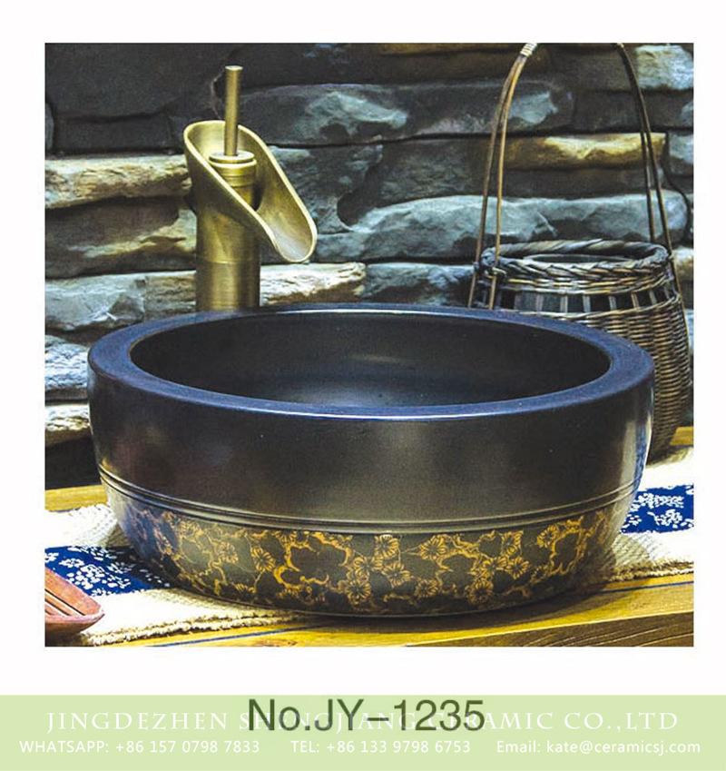 SJJY-1235-30仿古腰鼓盆_13 Japanese style high quality porcelain matte black color and yellow flowers pattern bottom wash sink    SJJY-1235-30 - shengjiang  ceramic  factory   porcelain art hand basin wash sink