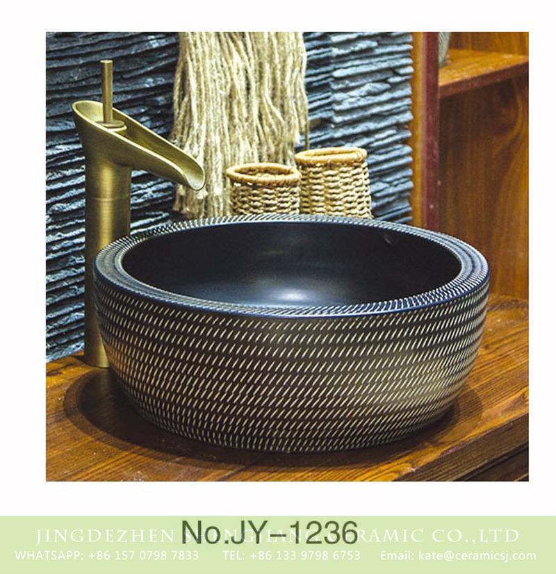 SJJY-1236-30仿古腰鼓盆_14 Large bulk sale factory outlet matte black inner wall wash hand basin    SJJY-1236-30 - shengjiang  ceramic  factory   porcelain art hand basin wash sink