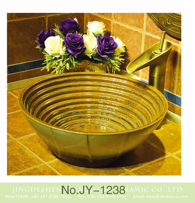 SJJY-1238-31仿古腰鼓盆_03 China antique bowl shape ceramic gold color wash hand basin    SJJY-1238-31 - shengjiang  ceramic  factory   porcelain art hand basin wash sink