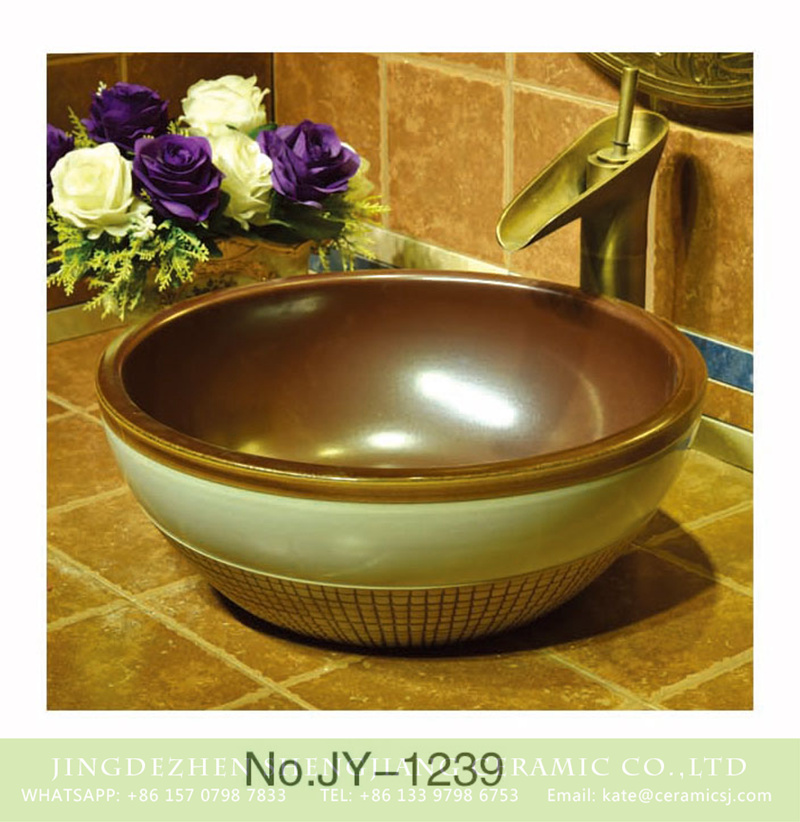 SJJY-1239-31仿古腰鼓盆_04 Jingdezhen wholesale brown color smooth ceramic inside and white color outside with check pattern bottom sanitary ware    SJJY-1239-31 - shengjiang  ceramic  factory   porcelain art hand basin wash sink