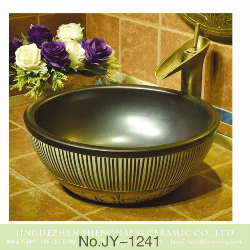 SJJY-1241-31仿古腰鼓盆_07 Japanese style factory price matte black ceramic with hand painted black lines sanitary ware    SJJY-1241-31 - shengjiang  ceramic  factory   porcelain art hand basin wash sink