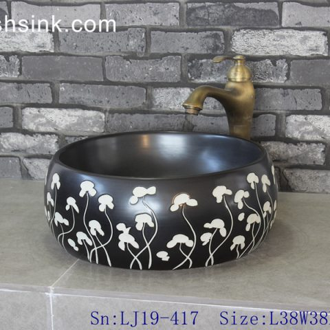 LJ19-417     Black background floral design porcelain wash basin