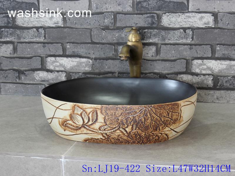 LJ19-422 LJ19-422     Elegant hand carved lotus design ceramic wash sink - shengjiang  ceramic  factory   porcelain art hand basin wash sink