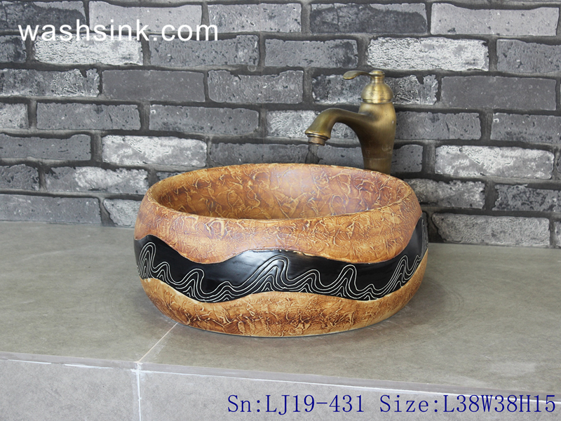 LJ19-431 LJ19-431    Imitation wood carved wave line design ceramic wash basin - shengjiang  ceramic  factory   porcelain art hand basin wash sink