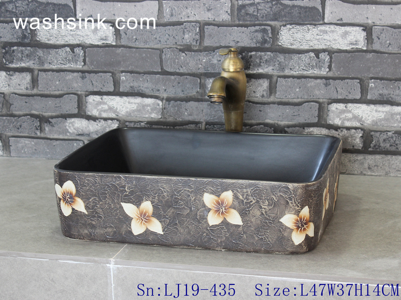 LJ19-435 LJ19-435     Best selling square flower pattern ceramic art basin - shengjiang  ceramic  factory   porcelain art hand basin wash sink