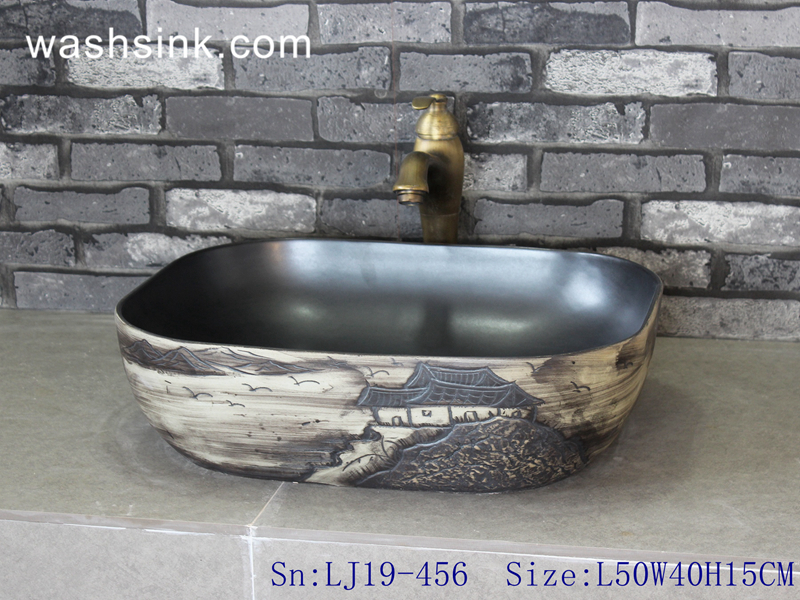 LJ19-456 LJ19-456     Shengjiang traditional landscape design ceramic wash sink - shengjiang  ceramic  factory   porcelain art hand basin wash sink