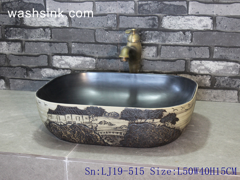 LJ19-515 LJ19-515    Arts and crafts valuable porcelain wash sink - shengjiang  ceramic  factory   porcelain art hand basin wash sink