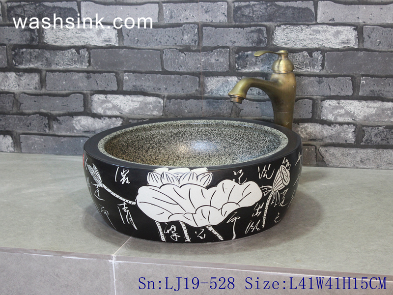 LJ19-528 LJ19-528   Black background white lotus design porcelain wash sink - shengjiang  ceramic  factory   porcelain art hand basin wash sink