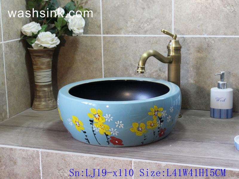 LJ19-x110 LJ19-x110    Light blue background yellow flower design ceramic sanitary ware - shengjiang  ceramic  factory   porcelain art hand basin wash sink