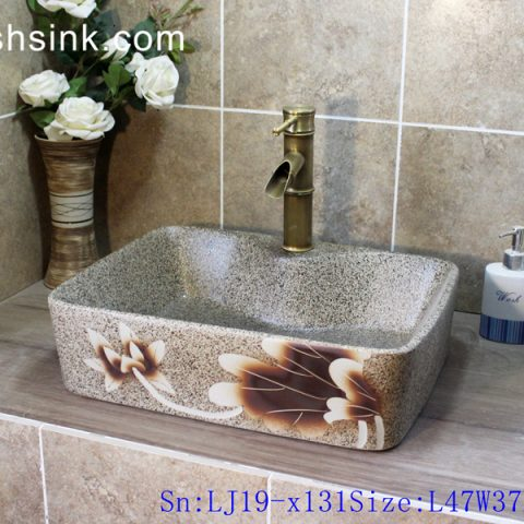 LJ19-x131    Precious marble color flower design ceramic wash basin