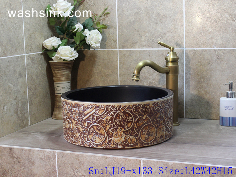 LJ19-x133 LJ19-x133    Column copper coin design ceramic art basin - shengjiang  ceramic  factory   porcelain art hand basin wash sink