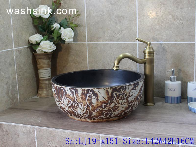 LJ19-x151 LJ19-x151     Black inside carved flower design ceramic wash sink - shengjiang  ceramic  factory   porcelain art hand basin wash sink