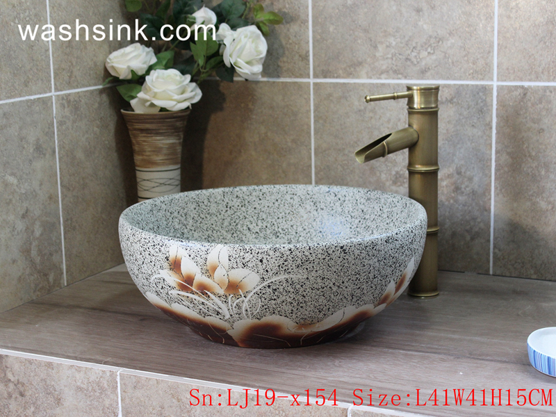 LJ19-x154 LJ19-x154     Marble surface flower design porcelain sanitary ware - shengjiang  ceramic  factory   porcelain art hand basin wash sink