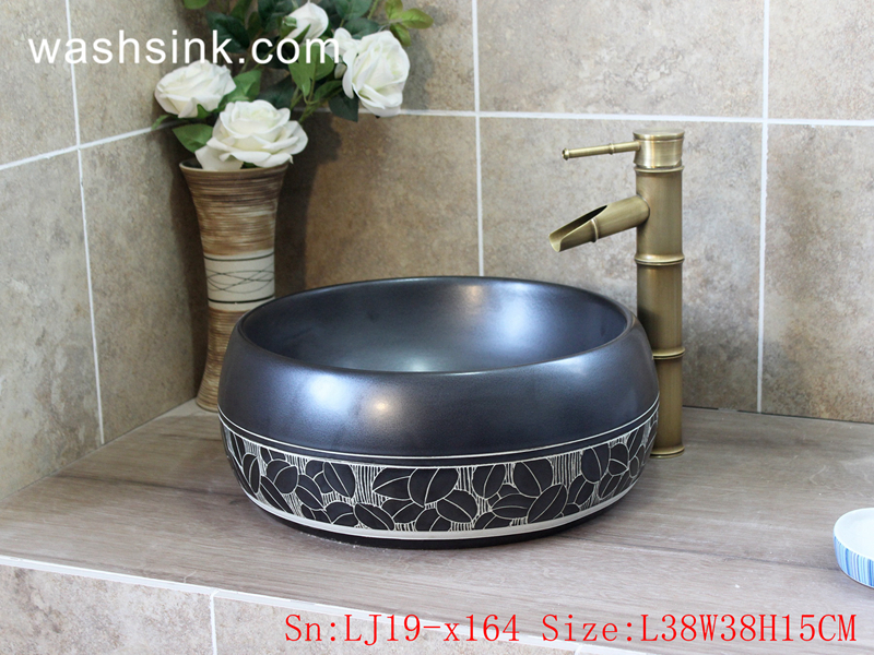 LJ19-x164 LJ19-x164     Smooth black leaves design ceramic toilet basin - shengjiang  ceramic  factory   porcelain art hand basin wash sink