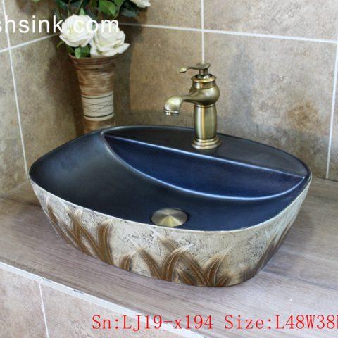 LJ19-x194     Modern style grass design ceramic lavabo
