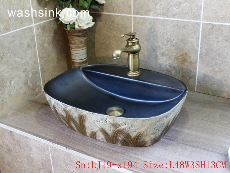 LJ19-x194 LJ19-x194     Modern style grass design ceramic lavabo - shengjiang  ceramic  factory   porcelain art hand basin wash sink