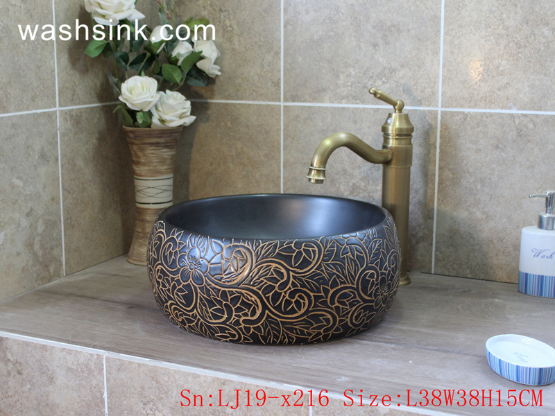 LJ19-x216 LJ19-x216        Shengjiang popular carved pattern ceramic lavabo - shengjiang  ceramic  factory   porcelain art hand basin wash sink