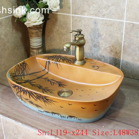 LJ19-x244       Light brown bamboo design ceramic sanitary ware