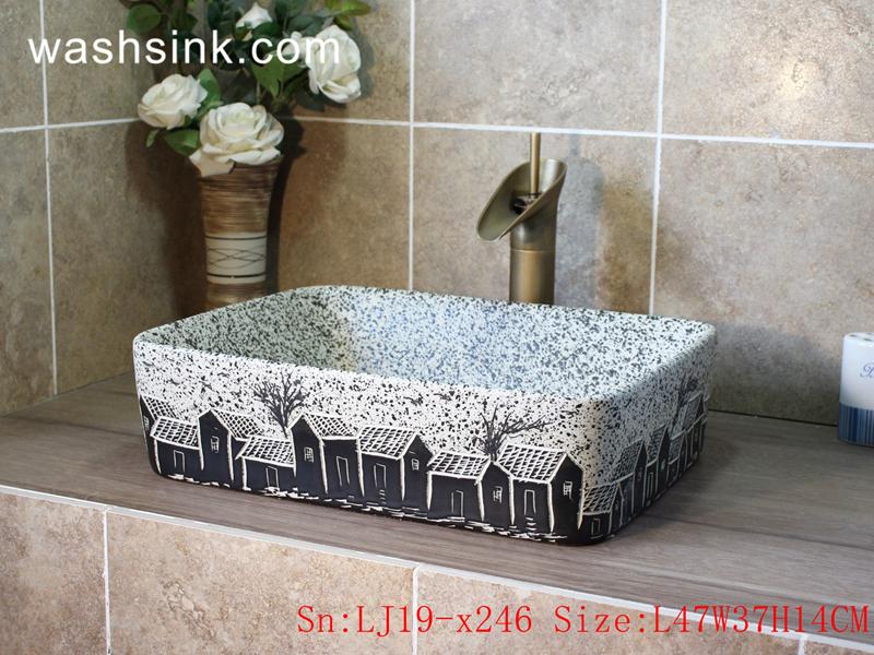 LJ19-x246 LJ19-x246    Imitating marble black house design ceramic wash basin - shengjiang  ceramic  factory   porcelain art hand basin wash sink