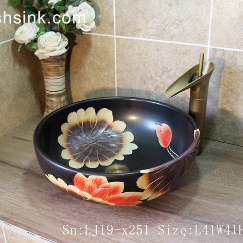 LJ19-x251     Black background sunflower design ceramic wash sink