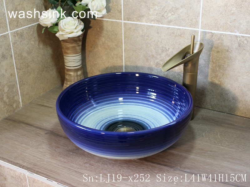LJ19-x252 LJ19-x252     Arts and crafts ceramic with blue rim sanitary ware - shengjiang  ceramic  factory   porcelain art hand basin wash sink