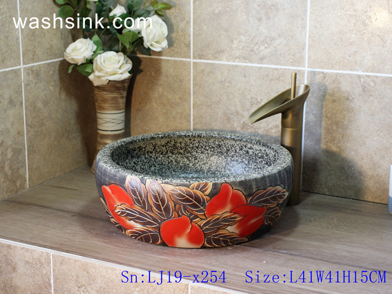 LJ19-x254 LJ19-x254     High quality retro flower design porcelain toilet basin - shengjiang  ceramic  factory   porcelain art hand basin wash sink