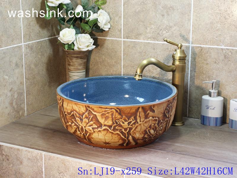 LJ19-x259 LJ19-x259     Sky blue inside brown flower pattern ceramic wash sink - shengjiang  ceramic  factory   porcelain art hand basin wash sink