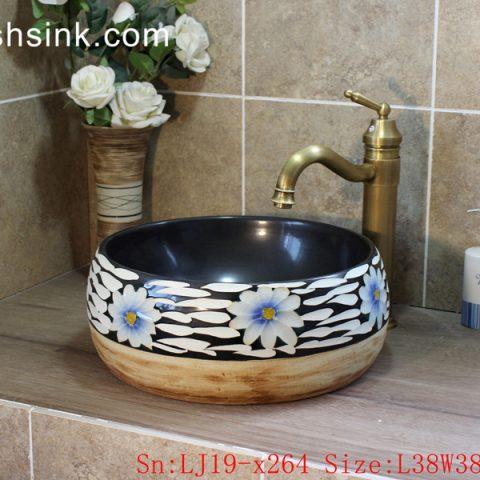 LJ19-x264       Wood color bottom flower pattern ceramic sanitary ware