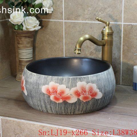 LJ19-x266    Advanced grey background peony design porcelain toilet basin