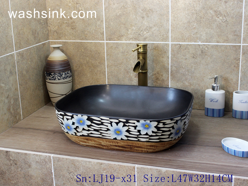 LJ19-x31 LJ19-x31    Delicate carving chrysanthemum design ceramic wash sink - shengjiang  ceramic  factory   porcelain art hand basin wash sink