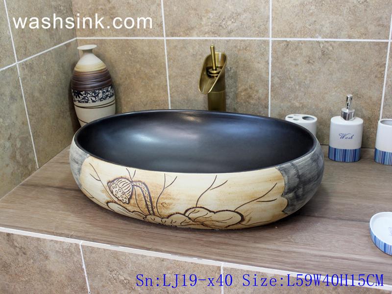 LJ19-x40 LJ19-x40     Arts and crafts ceramic with lotus design wash sink - shengjiang  ceramic  factory   porcelain art hand basin wash sink