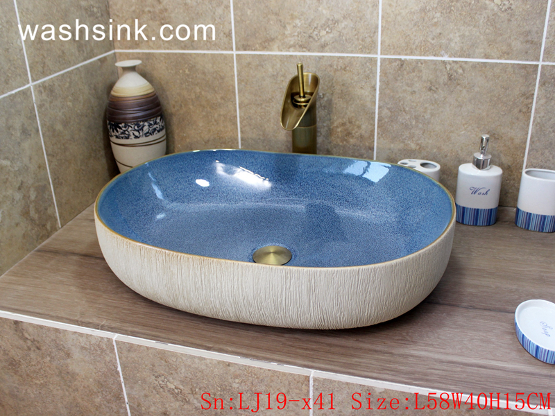 LJ19-x41 LJ19-x41   Light blue exquisite ceramic sanitary ware - shengjiang  ceramic  factory   porcelain art hand basin wash sink