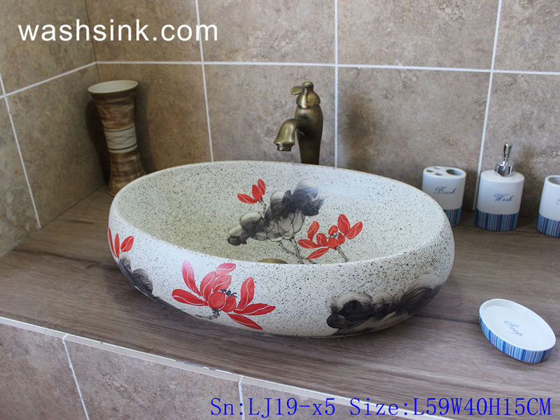 LJ19-x5 LJ19-x5    Marble color beautiful red flower design ceramic lavabo - shengjiang  ceramic  factory   porcelain art hand basin wash sink