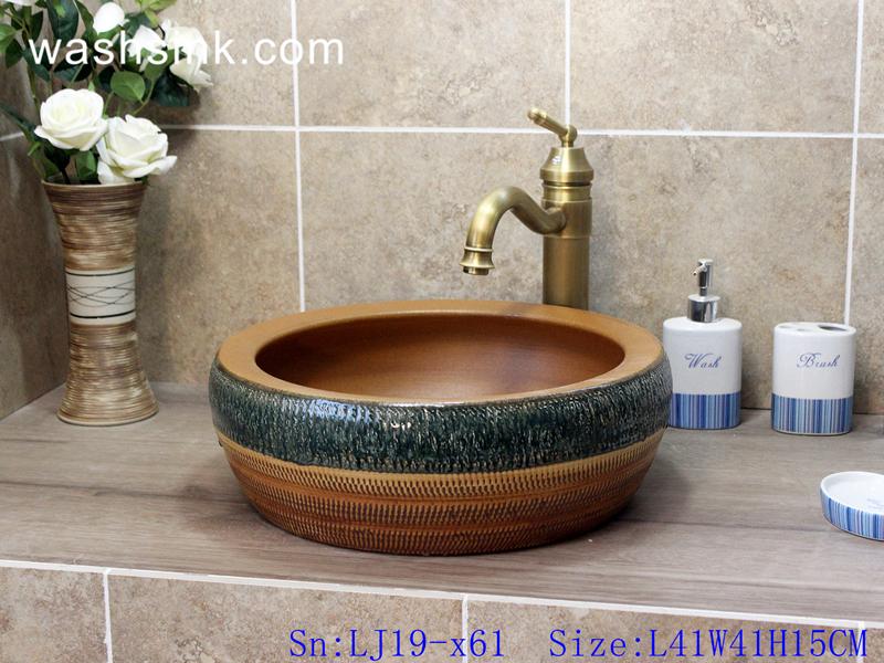LJ19-x61 LJ19-x61    Imitation wood hand made retro porcelain lavabo - shengjiang  ceramic  factory   porcelain art hand basin wash sink