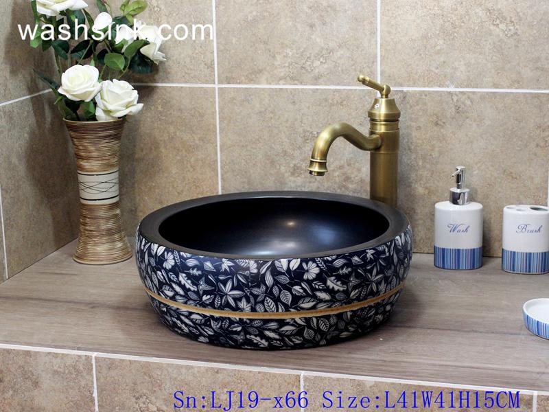LJ19-x66 LJ19-x66    Deep blue background various leaves design ceramic wash sink - shengjiang  ceramic  factory   porcelain art hand basin wash sink