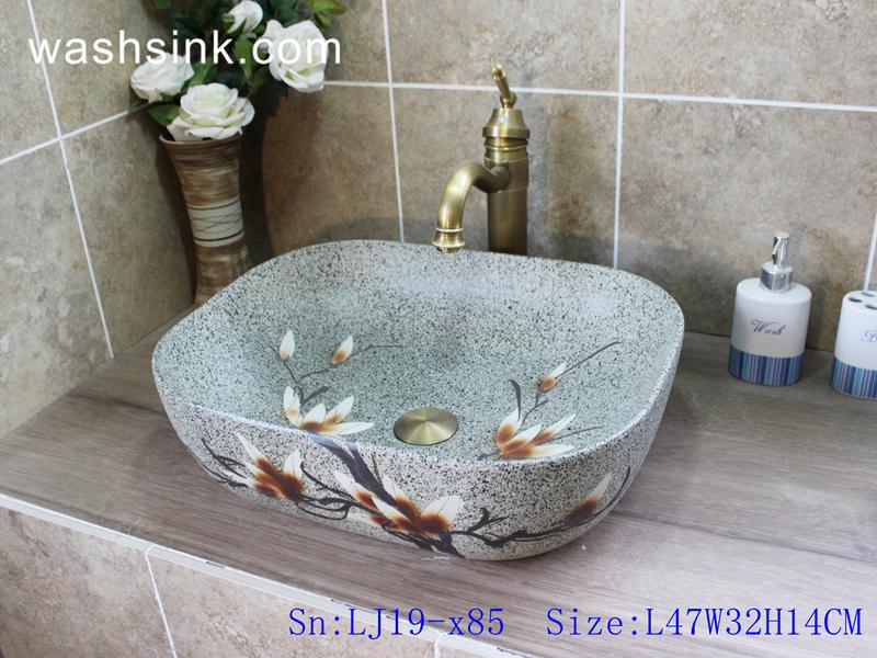 LJ19-x85 LJ19-x85    Marble color ceramic with beautiful flower design wash sink - shengjiang  ceramic  factory   porcelain art hand basin wash sink
