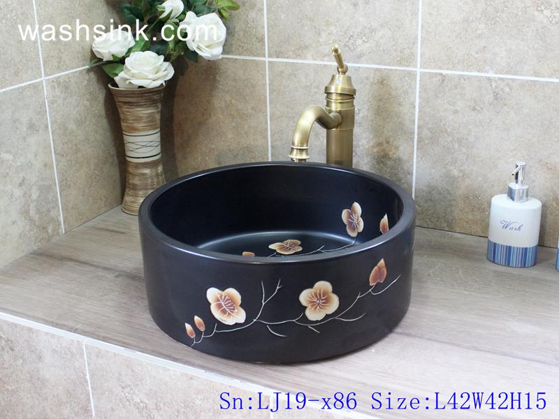 LJ19-x86 LJ19-x86    Cylinder black ceramic with design of characteristic flower wash basin - shengjiang  ceramic  factory   porcelain art hand basin wash sink