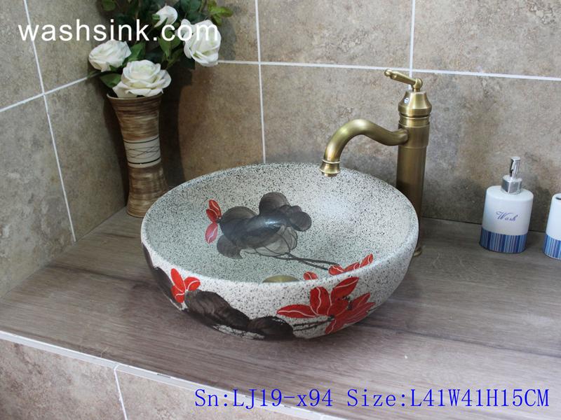 LJ19-x94 LJ19-x94    Bowl shape ceramic with floral design toilet basin - shengjiang  ceramic  factory   porcelain art hand basin wash sink