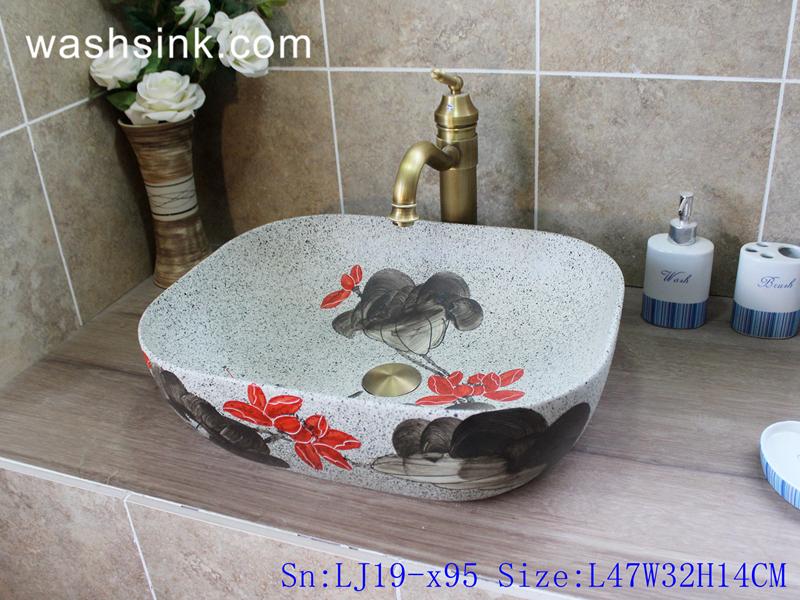 LJ19-x95 LJ19-x95     Best selling red and black flower design porcelain art sink - shengjiang  ceramic  factory   porcelain art hand basin wash sink