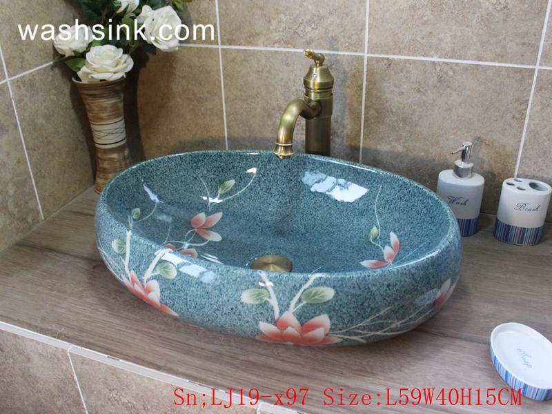 LJ19-x97 LJ19-x97    Sky blue glossy ceramic with design of pink flower wash basin - shengjiang  ceramic  factory   porcelain art hand basin wash sink
