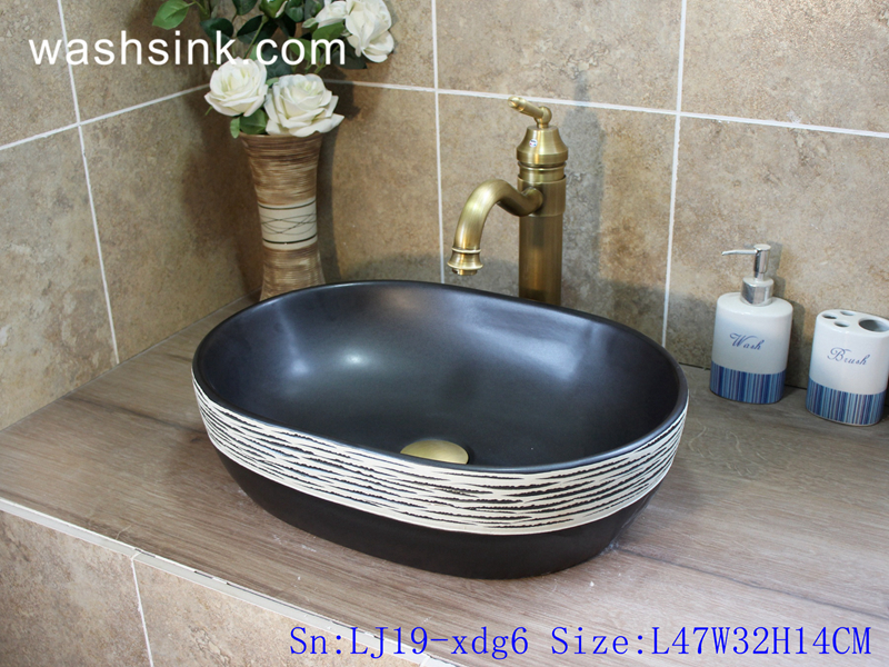 LJ19-xdg6 LJ19-xdg6    European simple style pure hand made ceramic wash basin - shengjiang  ceramic  factory   porcelain art hand basin wash sink