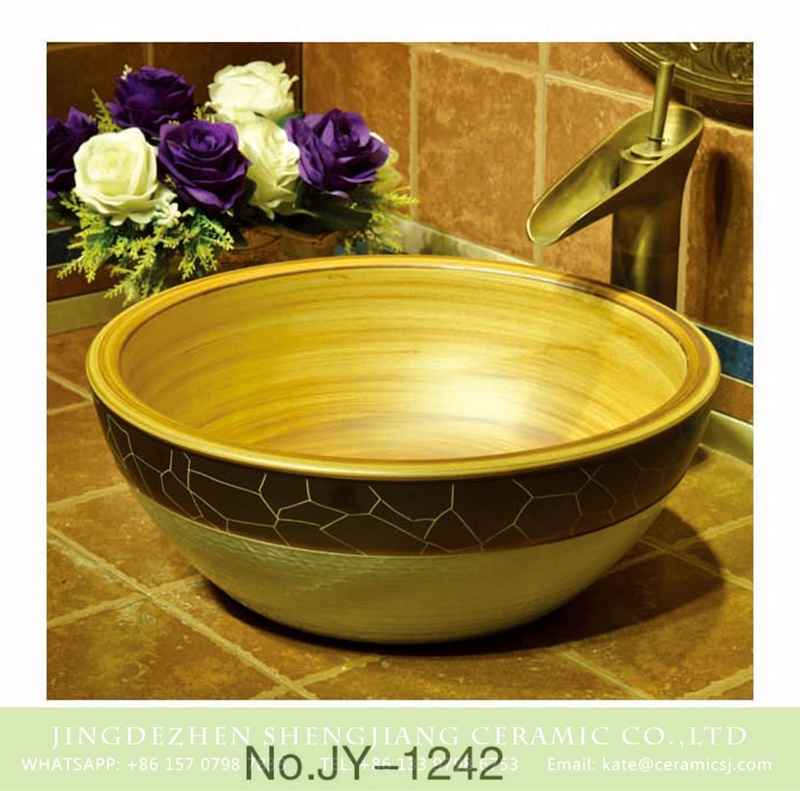 SJJY-1242-31仿古腰鼓盆_08 Shengjiang factory direct wood color ceramic with crack pattern surface wash sink    SJJY-1242-31 - shengjiang  ceramic  factory   porcelain art hand basin wash sink