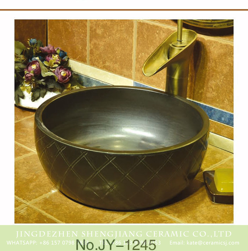 SJJY-1245-31仿古腰鼓盆_11 China conventional retro style dark color ceramic and hand carved check design surface wash sink    SJJY-1245-31 - shengjiang  ceramic  factory   porcelain art hand basin wash sink