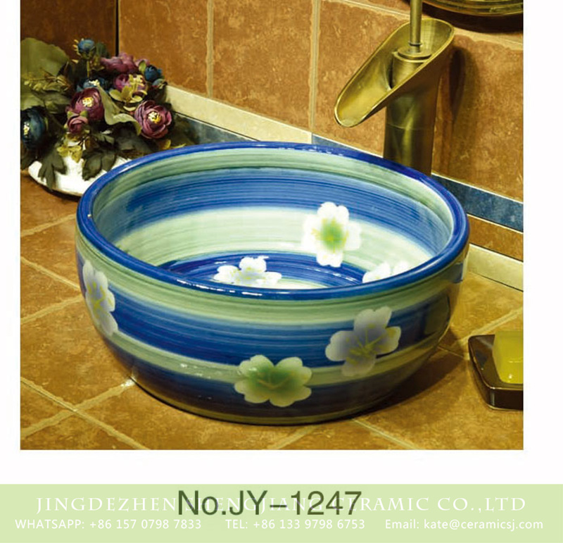 SJJY-1247-31仿古腰鼓盆_13 Hot sale blue and green glazed ceramic with white flowers pattern wash basin    SJJY-1247-31 - shengjiang  ceramic  factory   porcelain art hand basin wash sink