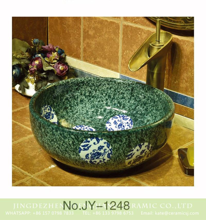 SJJY-1248-31仿古腰鼓盆_14 Shengjiang factory seaweed green color porcelain with blue and white round pattern vanity basin    SJJY-1248-31 - shengjiang  ceramic  factory   porcelain art hand basin wash sink