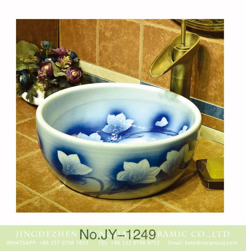 SJJY-1249-31仿古腰鼓盆_17 Large bulk sale factory outlet white color ceramic and blue outline flowers pattern wash sink    SJJY-1249-31 - shengjiang  ceramic  factory   porcelain art hand basin wash sink